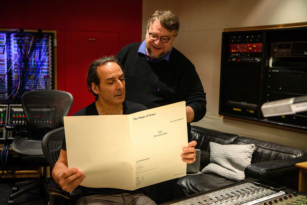Alexandre Desplat and Guillermo del Toro at Abbey Road Studios, London